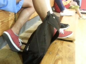 Kenwood students shows variety of different shoes at gym eighth period
