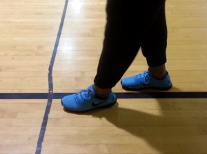 Kenwood Academy student at gym with some comptable Nikes