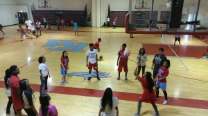 Junior students in gym teacher Ms. Williams class decide to spend their free day playing a volleyball game.