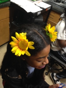Junior Asha Meriweather wears two Sunflowers on her hair to celebrate the start of spring.