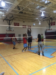 3.The Scene: Sophomore Volleyball Player Dave Hunt hits the ball with authority. Ms. Howland says that he's one of the team's best hitters.