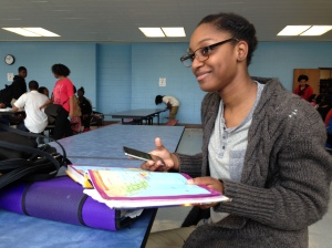 Kenwood Senior does work for her Geography class and socializes with friends on her phone during her lunch period.