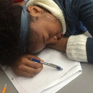 Freshman Taylor Brown is sleeping during French III.