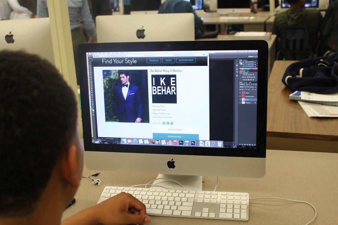 brianna s photo essay kenwoodphotoessays a kenwood senior looking at a website about where to get tuxedos for kenwood s upcoming prom