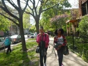 8th graders Miaa Cheeks and Aaliyah Lovelace walk towards the Kenwood campus after a walk around the Hyde Park area.