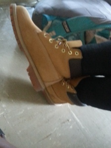 Senior Tajie McHerron has on brand name shoes called Timberlands