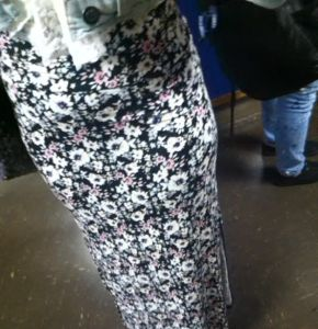 Kenwood sophomore Shantelle Hicks brings the floral patterns back to life.  She pulls off an loose fitted long cotton skirt.  Unique styles of being different on a nice spring day.