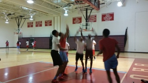 Sophomore students in Mr. Sedano's 1st period gym class spend their free day playing basketball.